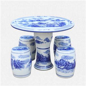 景德镇陶瓷桌子凳子套装手绘青花瓷桌瓷凳户外阳台庭院1桌4凳桌椅厂家