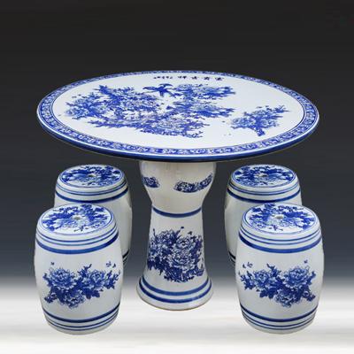 景德镇陶瓷桌子凳子套装休闲圆桌花园瓷凳户外庭院露天阳台桌椅厂家