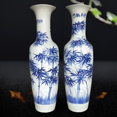 景德镇陶瓷手绘仿古青花锦绣前程落地大花瓶家居客厅装饰品大摆件厂家