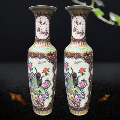 景德镇陶瓷器大花瓶新中式客厅粉彩花开富贵插花家居装饰品厂家