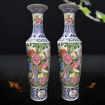 景德镇陶瓷器落地大号花瓶高档手绘仿古粉彩牡丹凤凰客厅装饰摆件厂家