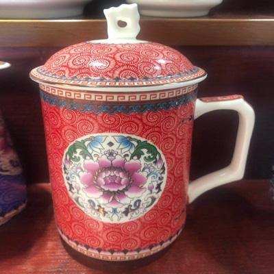 珐琅彩陶瓷马克杯带盖水分离杯陶瓷花茶杯子办公室会议水杯泡茶杯厂家