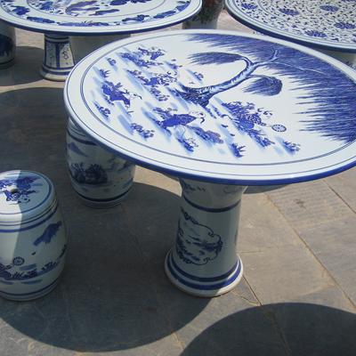 景德镇青花陶瓷桌子凳子家用餐桌凳一桌四凳陶瓷凳子卧室梳妆台椅子厂家