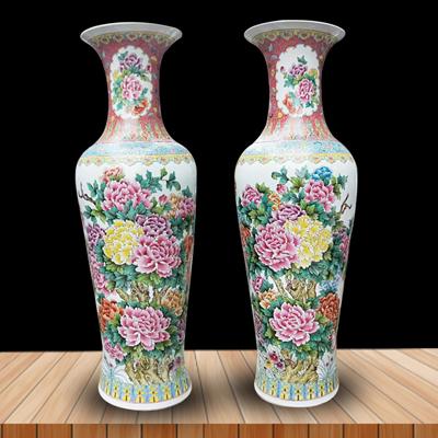 景德镇陶瓷器落地大号花瓶高档手绘仿古粉彩牡丹凤凰客厅装饰摆件厂家定做