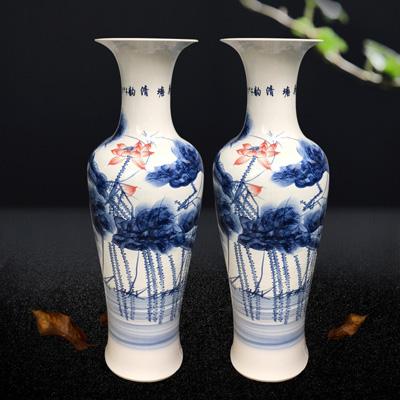 景德镇陶瓷手绘青花瓷落地大花瓶摆件客厅装饰品特大号厂家直销