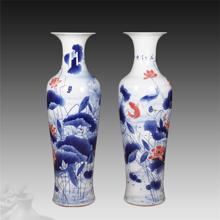年年有余陶瓷瓶大号客厅落地大花瓶陶瓷花器装饰品摆件礼品厂家定做