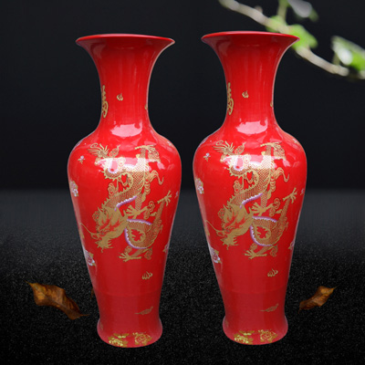 景德镇陶瓷落地大花瓶中国红花瓶酒店客厅装饰摆件开业礼品大号厂家定做