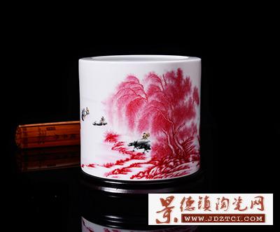 景德镇陶瓷器创意大号笔筒摆件家居套装李文跃名家江南好