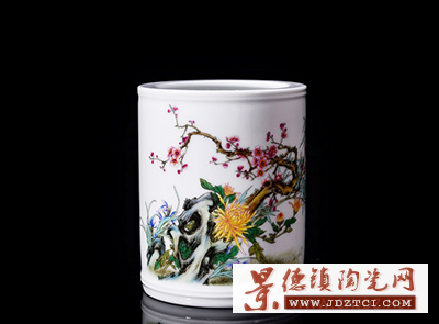 景德镇陶瓷小笔筒李少景大师作品办公桌装饰摆件四君雅聚图