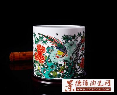 景德镇陶瓷毛笔筒办公用品蓝国华锦上添花鸟大号