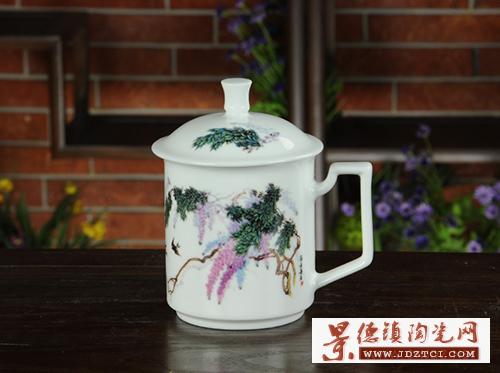 景德镇陶瓷泡茶杯带盖办公室杯子家用主人单杯小号