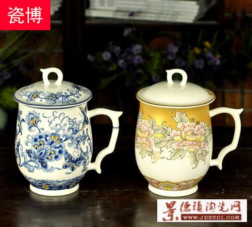 景德镇陶瓷骨瓷水杯瑞祥单层茶杯带盖有手柄锦盒装送礼