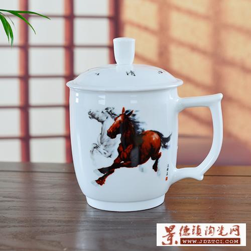 景德镇陶瓷茶杯中国梦双层保温马到成功领导专用泡茶杯子带盖