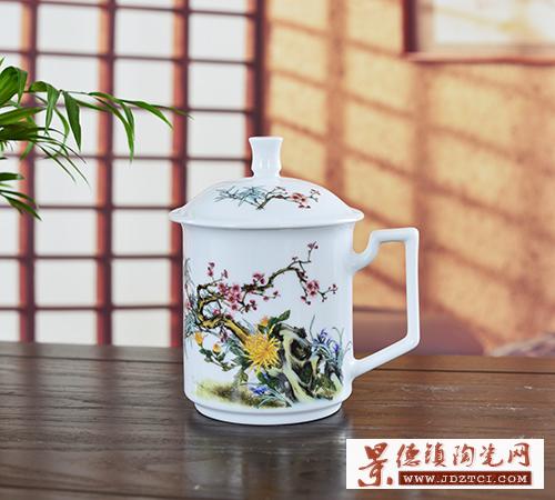 景德镇陶瓷泡茶杯带盖中式商务会议室杯子家用主人水杯大小号
