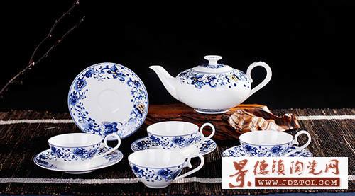 景德镇骨瓷青花9头欧式富贵牡丹花茶壶泡茶具套装过滤