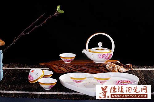 景德镇陶瓷8头金边高白釉茶具套装含托盘结婚礼品