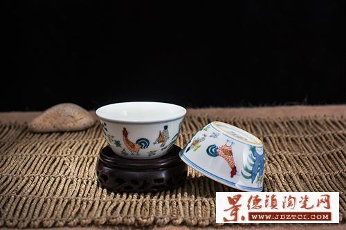 景德镇陶瓷高仿古明成化斗彩鸡缸杯李少景手绘亲笔证书