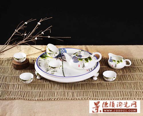 景德镇陶瓷中式功夫茶具套装9头古诗词春晓茶盘茶壶