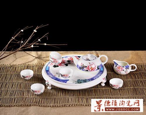 景德镇陶瓷茶具9头富贵牡丹花个性泡茶功夫茶盘套装时尚女士