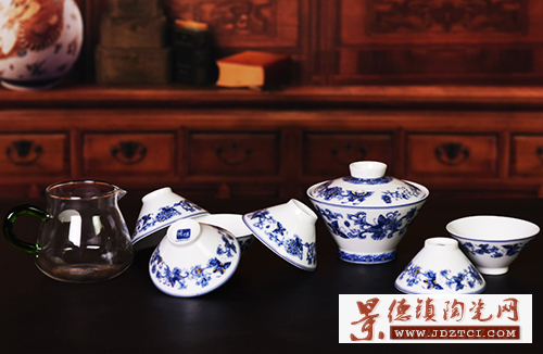 景德镇青花陶瓷户外旅游功夫茶具便携式套装