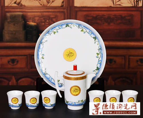 景德镇陶瓷功夫茶具套装建国60周年纪念