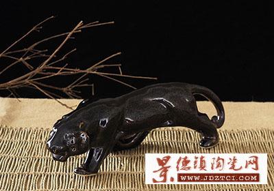 景德镇陶瓷十二生肖虎油滴耀变风水摆件家居工艺品李树群