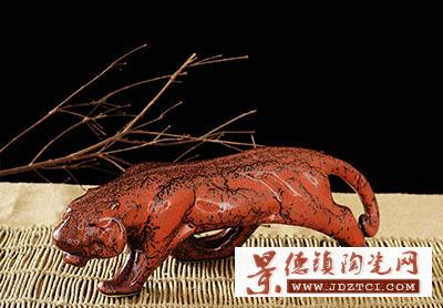 景德镇李树群生肖虎瓷雕油滴窑变釉风水家居工艺品红色摆件