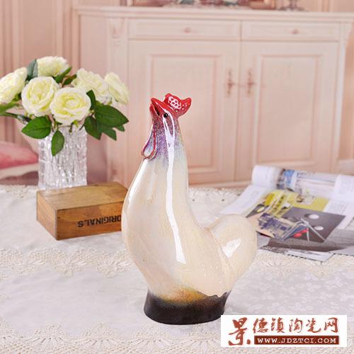 景德镇陶瓷生肖瓷雕鸡刘远长作品大吉工艺礼品客厅摆件