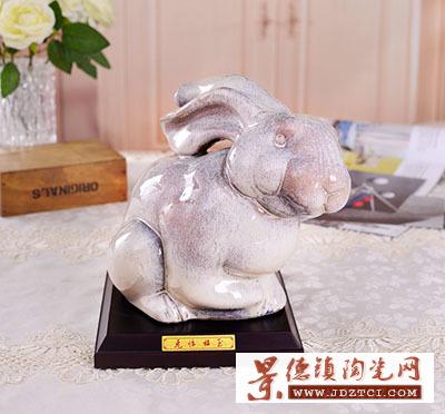 景德镇生肖瓷雕塑兔临福至中国工艺美术大师熊钢如客厅摆设