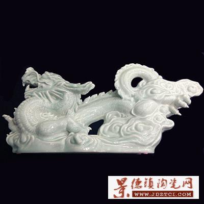 景德镇陶瓷雕塑龙年生肖摆件工艺品印有收藏编号唐自强中华龙