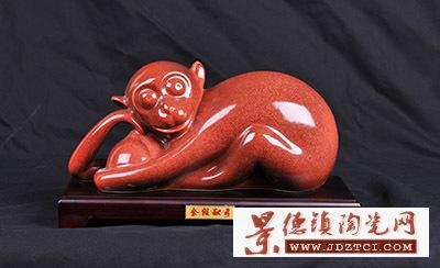 2016猴年生肖陶瓷摆件吉祥物刘少平金猴献寿铜红釉瓷雕工艺品