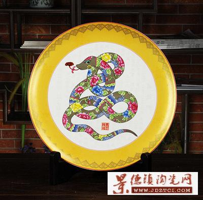 景德镇陶瓷十二生肖蛇摆件吉祥物工艺品刘少平作癸巳祈福图