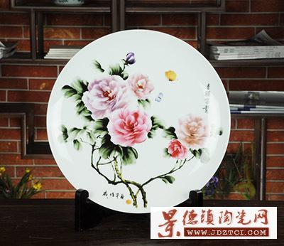 景德镇瓷器挂盘装饰盘墙工艺品牡丹创意摆件戚培才吉祥富贵