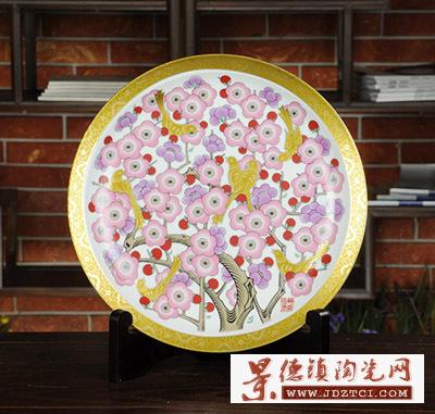 景德镇陶瓷欧式金边喜鹊装饰摆件家居工艺品秦锡麟喜上梅梢