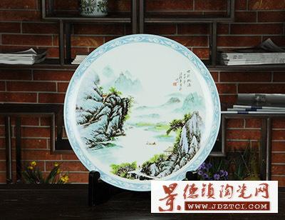 景德镇名家汪桂英世外桃源彩绘陶瓷装饰盘坐盘工艺品带支架
