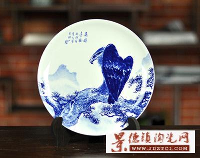 景德镇青花骨瓷盘摆件王隆夫名家作品高瞻远瞩雄鹰展翅圆盘