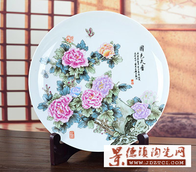 景德镇陶瓷工艺品装饰摆件李少景创作国色天香牡丹花开圆盘