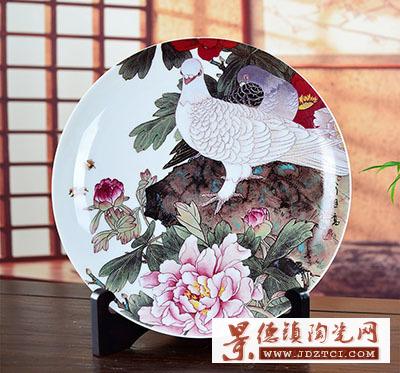 景德镇瓷盘摆件喻继高和平鸽子家居装饰彩盘陶瓷工艺品摆设