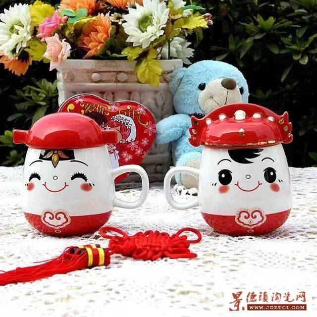 婚庆礼品陶瓷摆件,中国红套杯