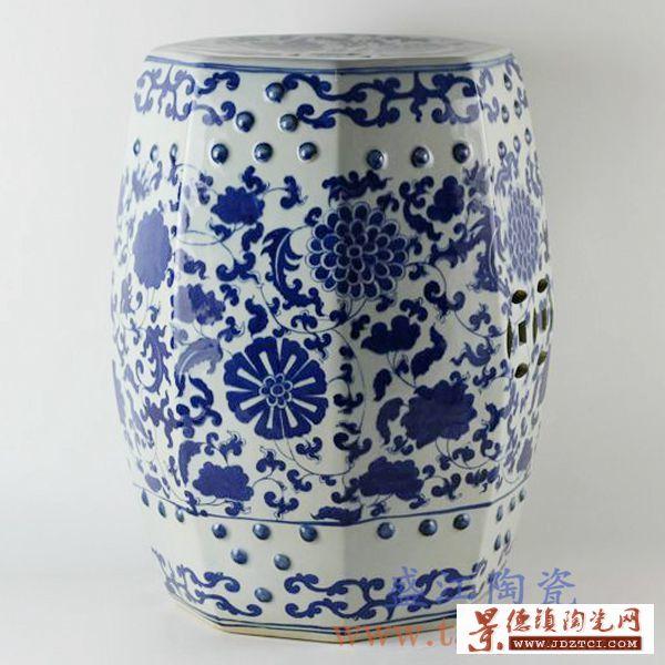 景德镇精品陶瓷凳子青花凳青花缠枝凉墩家居庭院酒店都可用