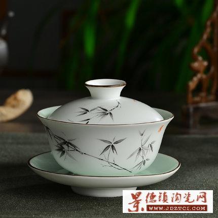 手工泡茶碗仿古细陶三才碗功夫茶具杯子