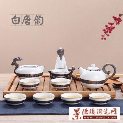 景德镇手绘陶瓷盖碗茶杯家用整套批发