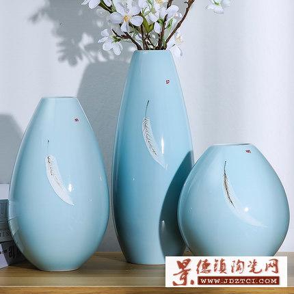 美式复古陶瓷花瓶三件套