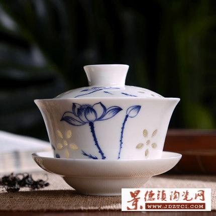 青瓷三才盖碗茶杯大号陶瓷功夫茶具手工泡茶碗