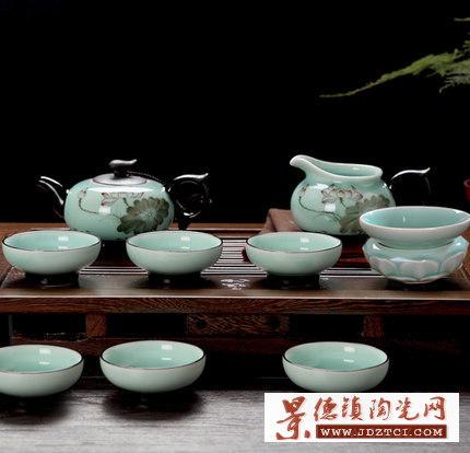 手绘日式功夫茶具套装家用简约茶壶茶杯陶瓷
