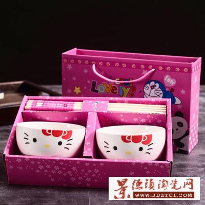 叮当猫碗筷陶瓷学生餐具套装