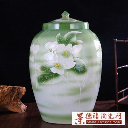 景德镇陶瓷米缸米桶10斤20斤装米缸带盖水缸酒缸油缸储米罐泡菜缸