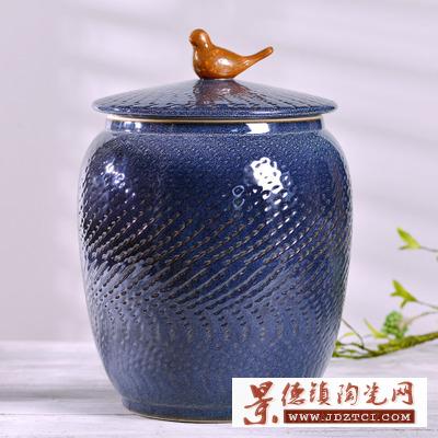 景德镇陶瓷米缸带盖10斤20斤米桶腌菜储物缸酒缸茶叶缸装饰品摆件