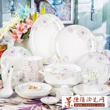 景德镇描金珐琅彩骨瓷餐具套装