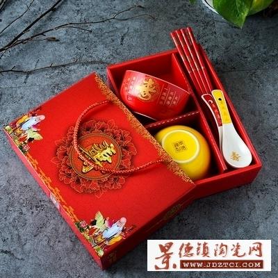 龙凤陶瓷寿碗答谢礼盒